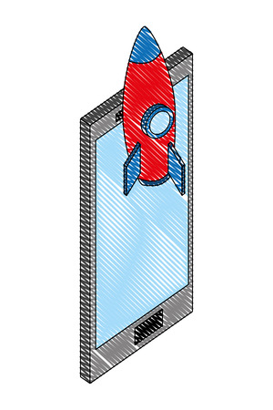 smartphone device with rocket isometric vector illustration design