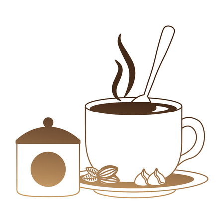 delicious coffee cup with seeds and sugar pot vector illustration design 일러스트