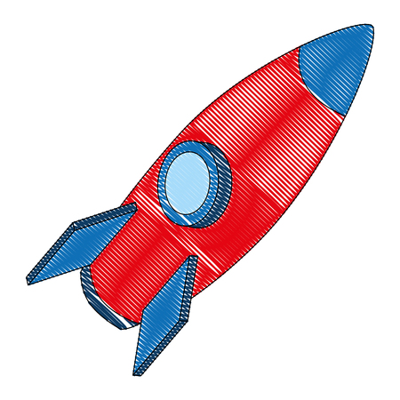 rocket flying isometric icon vector illustration design