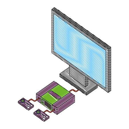 video game console with tv isometric vector illustration design Illustration