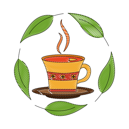 delicious herbs tea cup with leafs icon vector illustration design
