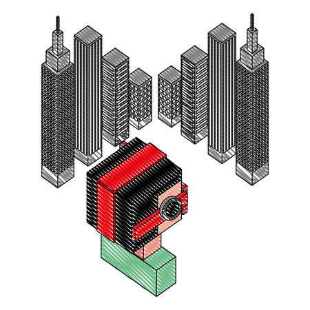 futuristic man with buildings isometric avatar vector illustration design