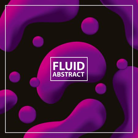 fluid abstract background neon bubbles circles black shape vector illustration