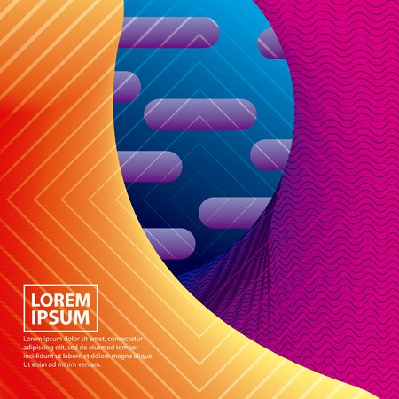 abstract covers geometric background fluid neon figures vector illustration