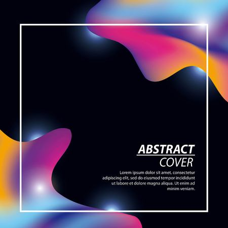abstract covers fluids illumination black background neon figures vector illustration