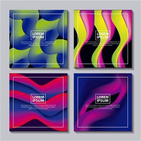 abstract covers fluids mixing neon figures waves degrade background vector illustration