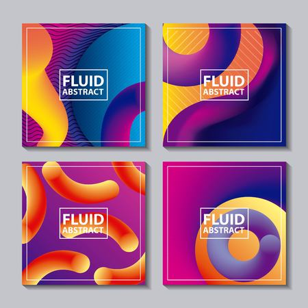 abstract covers fluids colors neon banners figures geometric vector illustration