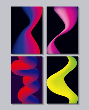 abstract covers neon fluids banners colors melted vector illustration  イラスト・ベクター素材