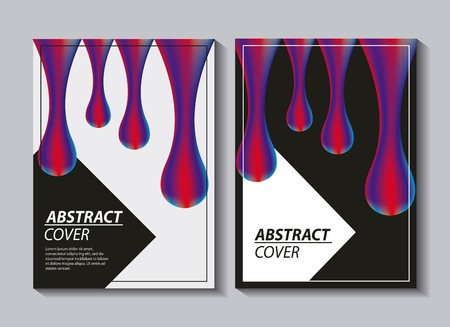 abstract covers fluids colorful banners drops fall neon vector illustration