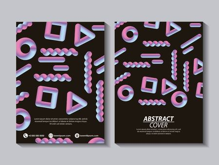 abstract covers fluids collage geometric figures degrade neon vector illustration