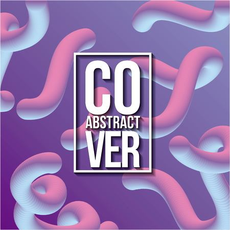 abstract covers fluids figures neon waves pink color vector illustration