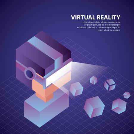 virtual reality isometric geometric background boy glasses watching cubes vector illustration Archivio Fotografico - 102522163
