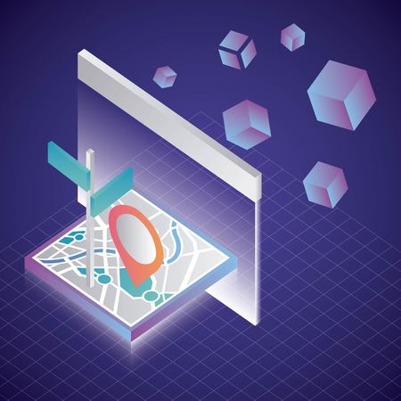 virtual reality isometric screen projecting gps map location destination vector illustration