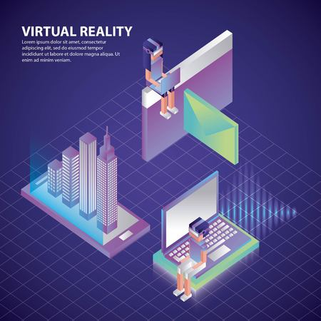 virtual reality isometric neon people watching computer smartphone projecting buildings vector illustration