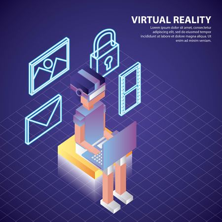 virtual reality isometric neon tools boy using computer 3d vector illustration
