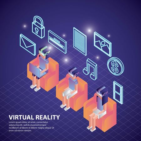 virtual reality isometric people sitting behind neon tools vector illustration Archivio Fotografico - 102522172