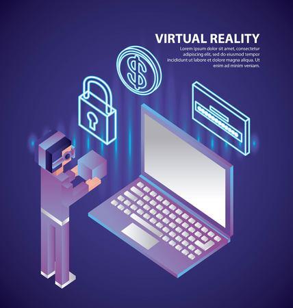 virtual reality isometric glasses padlock computer password vector illustration