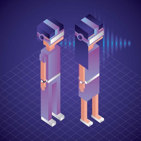 virtual reality isometric neon girl boy watching 3d things vector illustration  イラスト・ベクター素材