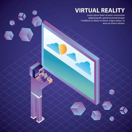 virtual reality isometric 3d boy with glasses holding controls watching screen landscape vector illustration