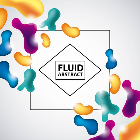 abstract covers fluids frame text neon splash figures white background vector illustration