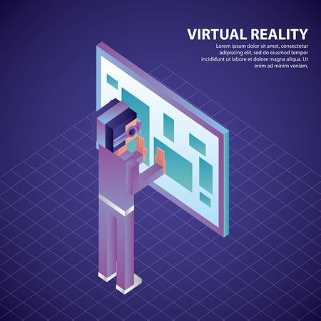 virtual reality isometric boy 3d neon glasses touch screen vector illustration 向量圖像