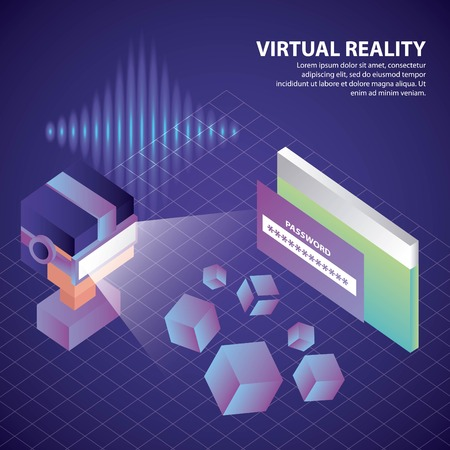 virtual reality isometric 3d boy glasses screen password vector illustration  イラスト・ベクター素材