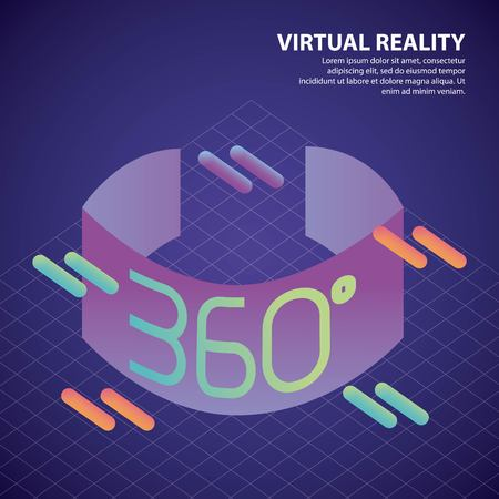 virtual reality isometric 360 degree geometric grid background vector illustration Archivio Fotografico - 102522189