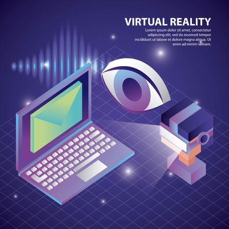 virtual reality isometric eye computer boy watching screen email geometric vector illustration Illustration