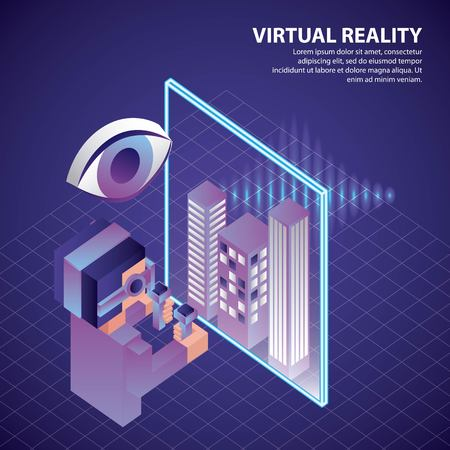 virtual reality isometric boy holding controls watching buildings on screen vector illustration