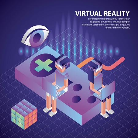 virtual reality isometric girl boy neon sitting control game cube glasses vector illustration