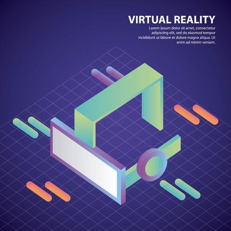 virtual reality isometric neon geometric glasses 3d vector illustration