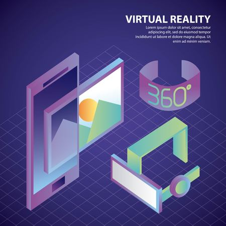 virtual reality isometric glasses smartphone image photo 360 degree screen vector illustration