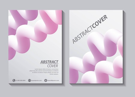 abstract covers fluids white banners pink waves colors vector illustration