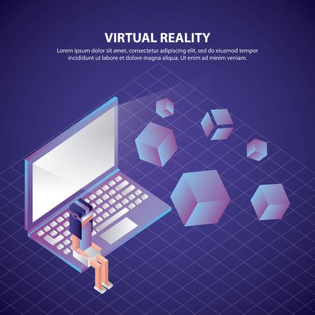 virtual reality isometric computer neon girl sitting computer vector illustration 向量圖像