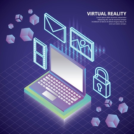 virtual reality isometric 3d neon computer tools vector illustration
