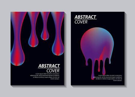 abstract covers fluids dark banner smile drops degrade sticker vector illustration