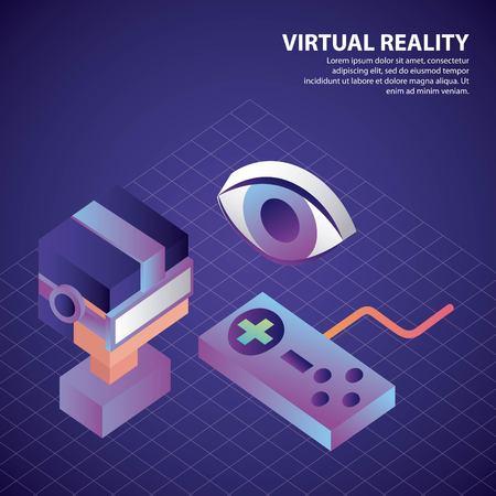 virtual reality isometric eye watching boy neon control game vector illustration