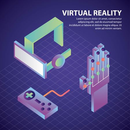virtual reality isometric control hand game glasses 3d game glove vector illustration Illustration