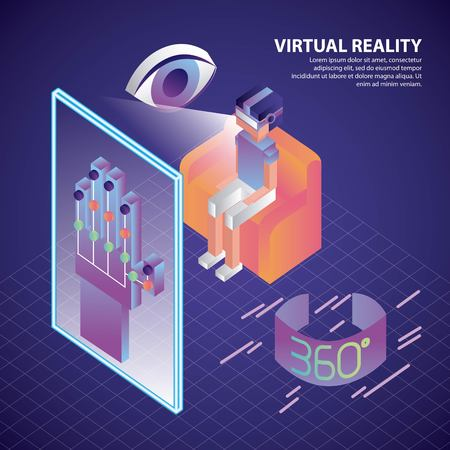 virtual reality isometric neon eye watching boy seen screen control wire glove vector illustration Vectores