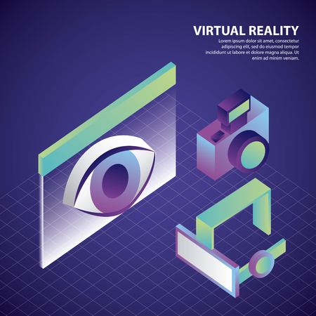virtual reality isometric neon camera eye in screen glasses vector illustration