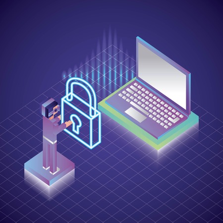 virtual reality isometric boy holding padlock neon computer geometric background vector illustration