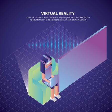 virtual reality isometric girl using laptop sitting looking screen 3d vector illustration
