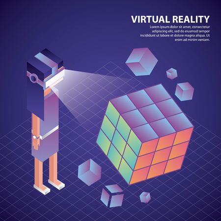 virtual reality isometric boy glasses watching 3d cube vector illustration Ilustrace