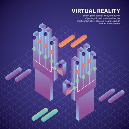 virtual reality isometric geometric background wired glove control game 3d vector illustration