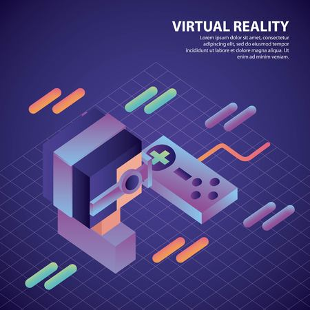 virtual reality isometric geometric background boy glasses control game vector illustration Archivio Fotografico - 102528457