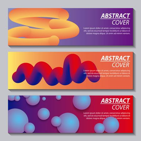 abstract covers fluids banners neon geometric figures vector illustration