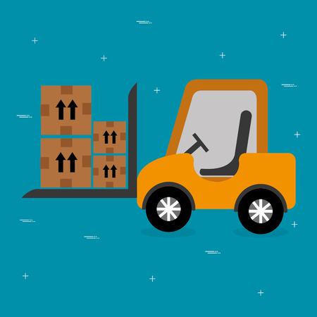 forklift vehicle with boxes logistic services vector illustration design