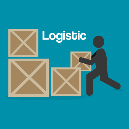 worker logistic service silhouette vector illustration design
