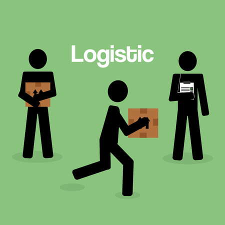 workers logistic service silhouette vector illustration design