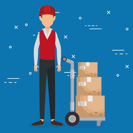 worker logistic service avatar vector illustration design